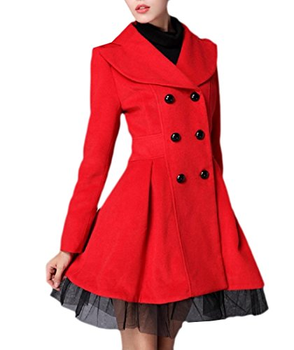 Winwinus Womens Outerwear Topcoat Autumn Twill Double-Breasted Retro Pea Coats Red L