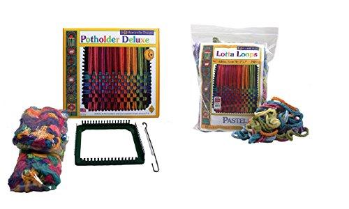 Harrisville Designs Potholder & Pastel Lotta Loops Combo Kit, Makes 10 Potholders (Loom For Pot Holders)