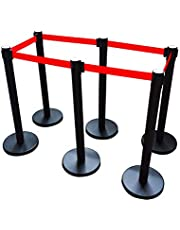 INTBUYING 78IN 6 Red Belt Stanchions Posts Queue Pole Retractable Crowd Control Barrier