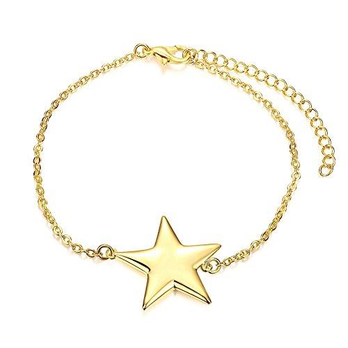 18k Knot Bracelet (Golden Moon Star Heart Knot Handcuff Charm Chain Bracelet Best Gift For Women Girl Friend)