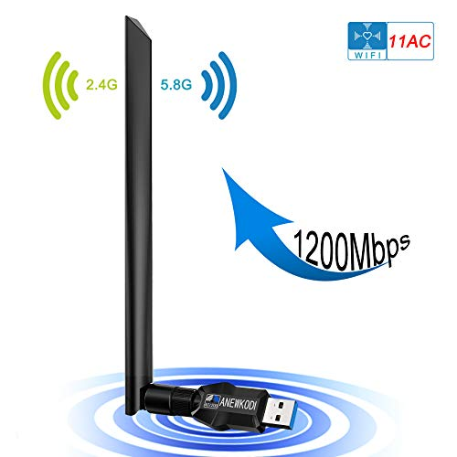 (ANEWKODI Wireless USB 1200Mbps USB WiFi USB 3.0 Dual Band (2.4GHz/300Mbps + 5.8GHz/867Mbps) 802.11ac/b/g/n WiFi Adapter for PC/Desktop/Laptop, Support Windows 10/8.1/8/7/XP, Mac)