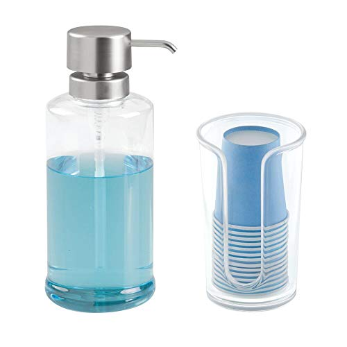 mDesign Modern Plastic Mouthwash Pump and Disposable Cup Holder - Compact Storage Organizer for Bathroom Vanity, Countertop, Cupboard, Includes 14 Paper Cups - Set of 2 - Clear/Brushed Nickel