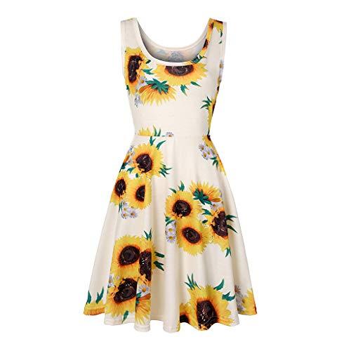- HIRIRI Women's Sleeveless A line Waistline Midi Dress Casual Sunflower Summer Beach Casual Flared Tank Dress White