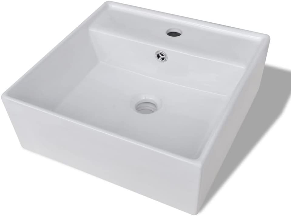 vidaXL Lavabo Cuadrado Moderno con Agujero de Grifo y Desag/üe Cer/ámica Blanco