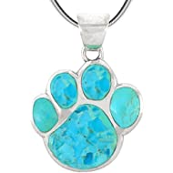Dog Paw Pendant Necklace in 925 Sterling Silver with Genuine Turquoise & Gemstones (20