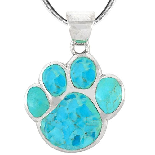 Dog Paw Pendant Necklace 925 Sterling Silver & Genuine Turquoise (20