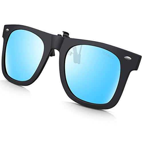 TOREGE Polarized Clip-on Flip up Rubber Clip Sunglasses For Driving Fishing T001 T001-Blue
