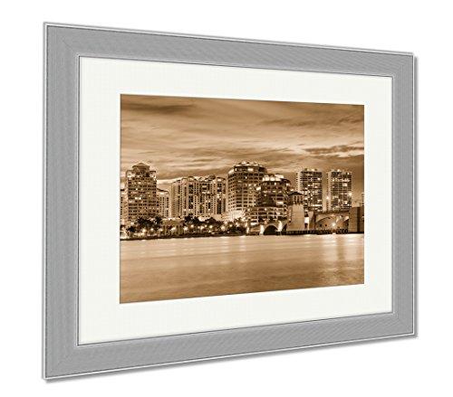 Ashley Framed Prints West Palm Beach Florida USA Downtown Skyline Travel Architecture City, Contemporary Decoration, Sepia, 26x30 (frame size), Silver Frame, - Fl West Beach Place City Palm