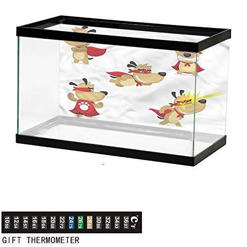 bybyhome Fish Tank Backdrop Dog,Superhero Puppy with Paw,Aquarium Background,60