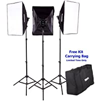 Fovitec StudioPRO 3000 Watt Photography Continuous Output Light - Three 20 x 28 Softbox Lighting Kit for Portrait, Photo, and Video Studio With Light Stand and Daylight Bulbs