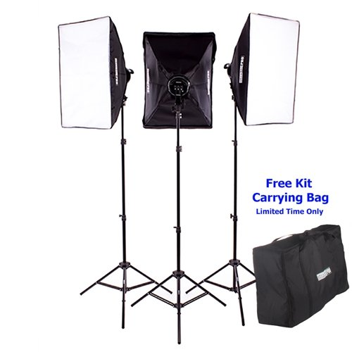Fovitec  StudioPRO - 3x 24''x36'' Softbox Lighting Kit w/ 6400 W Total Output - [Pro][Includes Stands, Softboxes, Socket Heads, 15x 85W Bulbs] by Fovitec