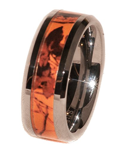 Southern Designs Orange Camouflage Band Ring for Men (11.5) -