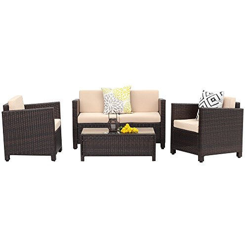 Wicker 4 Piece - Wisteria Lane Outdoor Patio Furniture Set,4 Piece Conversation Set Wicker Sectional Sofa Loveseat Chair Brown Wicker,Beige Cushions