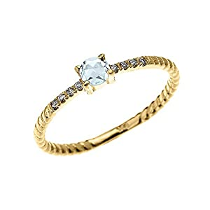 14k Yellow Gold Dainty Diamond and Solitaire Aquamarine Rope Design Stackable/Proposal Ring