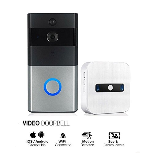 Wireless Bluetooth WiFi Smart Video DoorBell 720P HD Security Video IR Camera Monitor with Chime Real-Time Two-Way Talk and Video, Night Vision PIR Motion Detection and App Control for IOS and Android