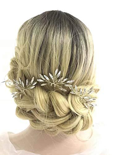 Aegenacess Wedding Hair Pins Rhinestones Crystal Leaf Bridal Hair Pin Clips Combs for Brides and Bridesmaids Gift Women and Girls (Set of 3) (gold)
