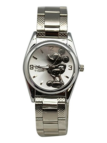 Disney's Mickey Mouse Silver Color Band With Black Color Mickey Dial Watch (25mm) ()