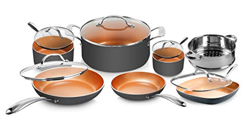 Gotham Steel Pots and Pans Set 12 Piece Cookware Set with Ultra Nonstick Ceramic Coating by Chef Daniel Green, 100% PFOA…