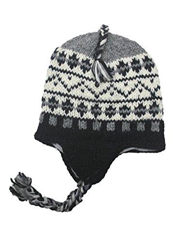 Sherpa Designs Hand Knit Unisex WOOL Beanie Hat Ear Flap Fleece Lined Nepal (Black ()