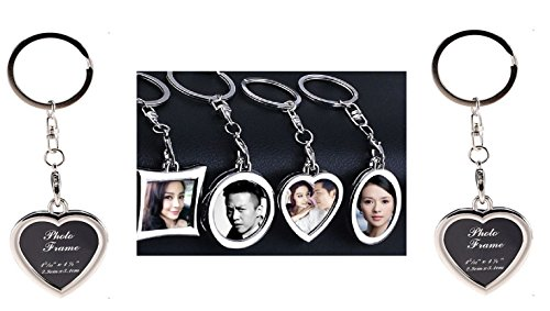 Garloy Photo Frame Keychain Set Mini Creative Metal Alloy Buckle Insert Photo Picture Frame-Keyring Keychain Car Key Chain Ring Keyfob Gift (Heart-Shaped,Pack of - Photo Ring Key Heart