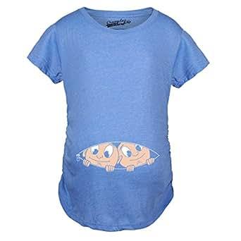 Crazy Dog Tshirts - Maternity Peeking Twins Shirts for Twins Cute Baby Announcement Pregnancy Shirt (Blue) S - Camiseta De Maternidad
