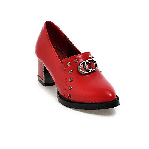 Amoonyfashion Pull-on Dames Pu-puntige Dichte Neus Kitten-hakken Stevige Pumps-schoenen Rood