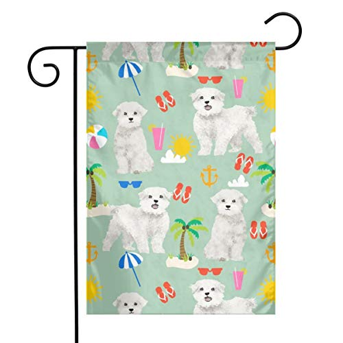 fudin Garden Flag 12 X 18 Inches Maltese Fabric Dog Summer Tropical Palm Trees - Mint_88, Custom Double-Sided Yard Flag, Polyester House Banner for Indoor Outdoor Home Decor
