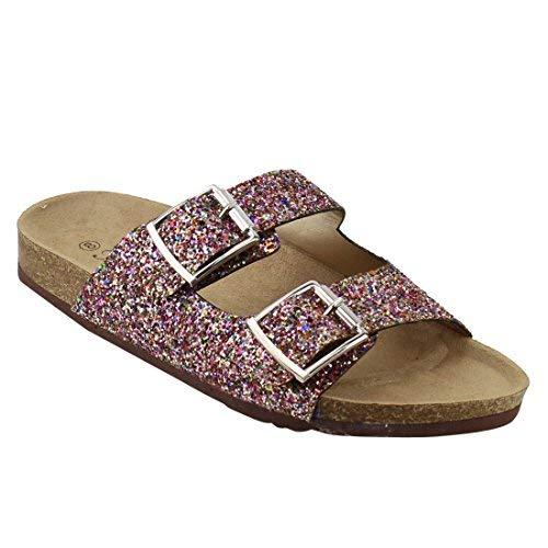 Forever FQ79 Women's Sparkle Glitter Slip On Casual Sandals, Color:Multi, Size:5.5