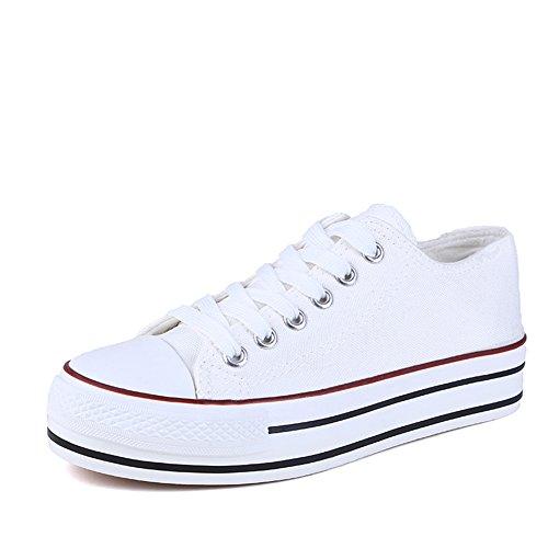 Minivog Mujeres Canvas Zapatillas Para Caminar De Moda Blanco Rojo