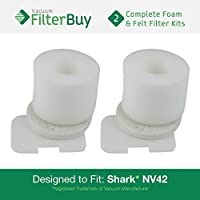 2 - FilterBuy Shark NV42 Compatible Foam & Felt Vacuum Filter Kit. Designed by FilterBuy to Replace Shark Part # XFF36.