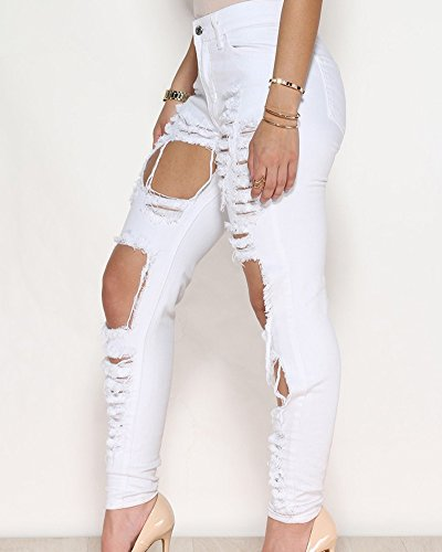 Bianco Donna Slim Sottili Denim Fit Leggings Jeans Stretch Matita Pantaloni Skinny vBvHPqnr