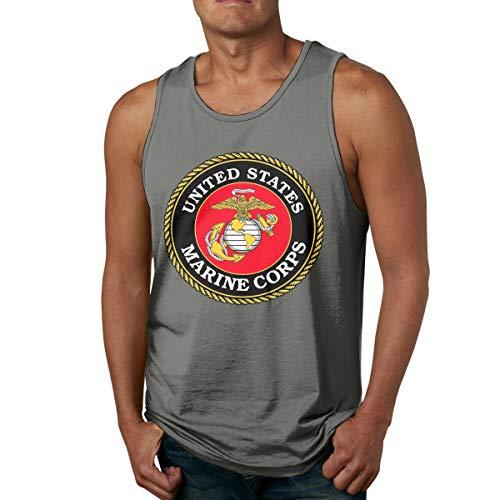VANMASS Men's USMC United States Marine Corps Sleeveless Tank Top Shirt Deep Heather (Feel Safe At Night Sleep With A Marine)