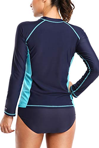 protezione lunga per a donna con T Rashguard Uv 50 shirt da manica scuro blu bagno qwF4APFBX