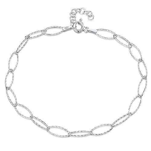 """925 Fine Sterling Silver 6.3 mm Adjustable Anklet - Oval Cable Chain Ankle Bracelet - 9"""" to 10"""" inch - Flexible Fit"""