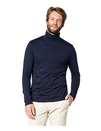 Elegance Men`s Navy Slim Fit Soft Cotton Pullover Light Turtleneck/Rollneck