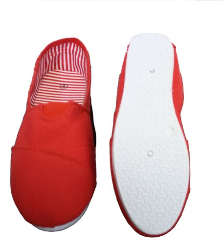 Womens on Slip Red Shoes Dona Canvas Michi Sqw5IPU