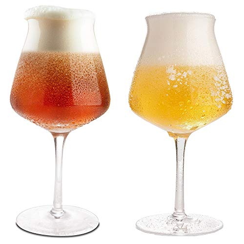 Craft Beer Glasses Set of 4 in Luxury Gift Box, Hand Blown 14.2 oz Teku Stemmed Beer Glasses for Pilsner, Stout, Lager, Ale, IPA (Best Ipa Craft Beer)