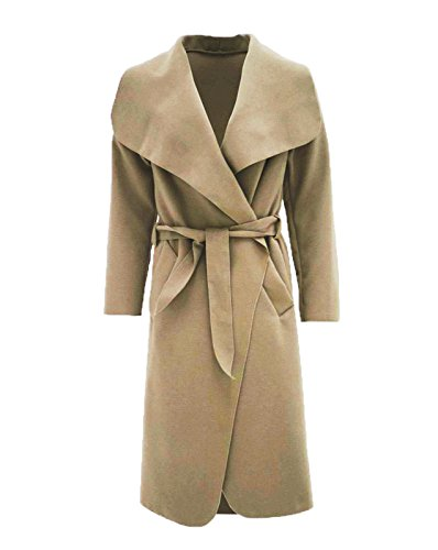 Femmes Cascade Fast Duster Les Manches Fashion Belted Long Cape Manteau Beige Plain w1v6q