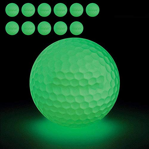 12-Piece Luminous Night Golf Balls Shine in The Dark, Green Light Fluorescent Golf Balls, Long-Lasting Bright Glow Balls No LED Inside, Recharged by Sunlight and Flashlight -