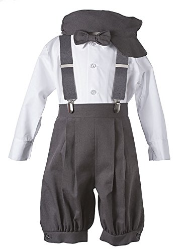 (Vintage Baby Toddler Boys Knickers Suit Set Dark Gray)