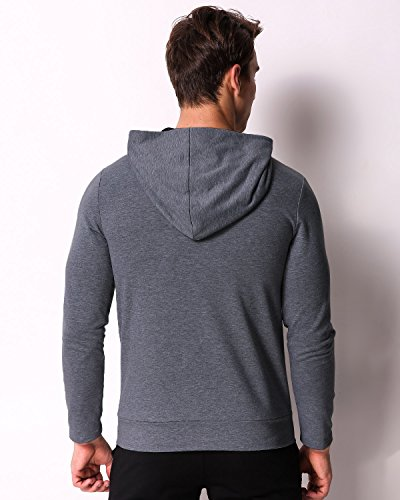 MODCHOK Men's Long Sleeve Hooded T Shirts Cotton Tee Tops Hoodies Sweatshirts Dark Grey XL by MODCHOK (Image #3)