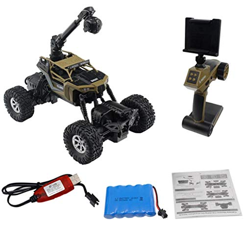 Cinhent Toys, 1:16 Waterproof Remote Control Car WIFI FPV 0.3MP Camera RC Crawler Vehicle Toys, Shockproof Outdoor Wild Racing Kids Gifts, Boys Kids Hobby Novelty Game, 30.5 × 19 × 19 CM