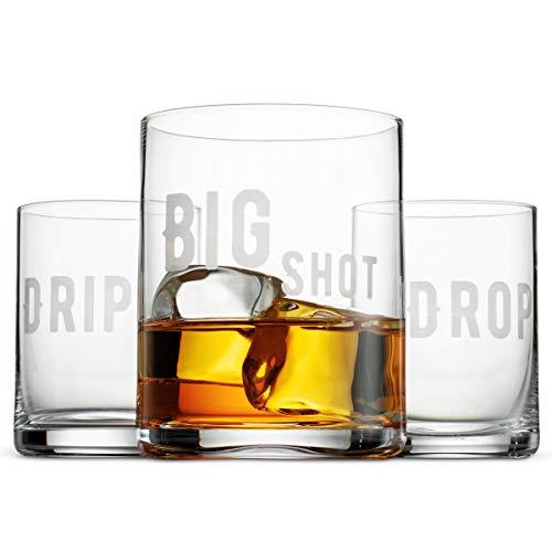"Premium Crystal Whisky Glasses Set of 3  | Fun""Big Shot Drip"