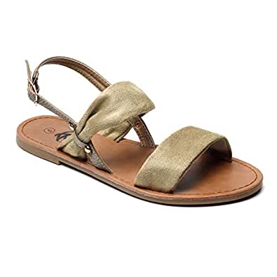 Trary Soft Suede Strap and Metal Buckle Flat Sandals for Women Green Size: 5