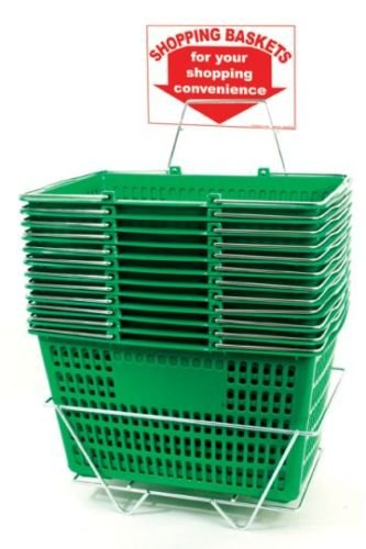 Shopping Basket Set of 12 Durable Green Plastic with Sign and Stand