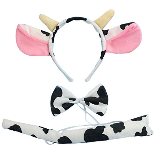 Costumes Ears (Marlegard 3PCs Funny Dalmatian Milk Leopard Costume Headband Ear with Tail Tie (Milk with Horn))