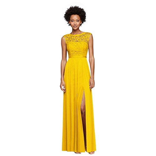 Long Bridesmaid Dress With Lace Bodice Style F19328  Sunflower  4