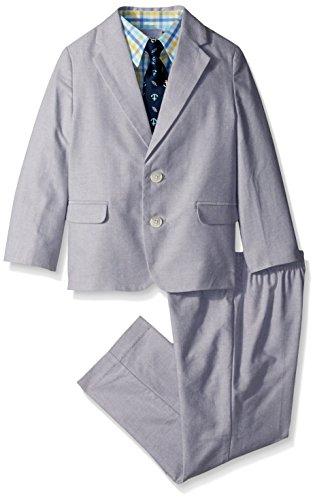 Nautica Little Boys' Chambray Suit Set, Light Grey, 4T