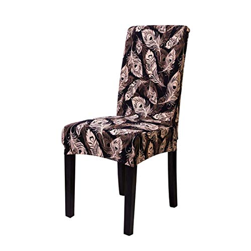 Homiest Spandex Fabric Stretch Removable Washable Dinning Chair Slipcovers Flower Printed Chair Covers 1Pc, Feather Black