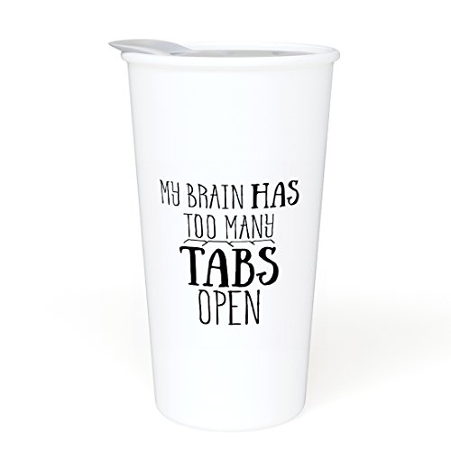 Ceramic Travel Coffee Mug with Lid  - My Brain Has Too Many
